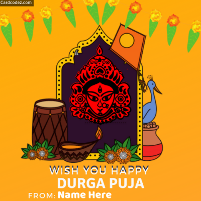 Write name on wish you happy durga puja greeting card