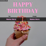 make online Happy Birthday Girl Pink Cupcake To From Name Photo Card