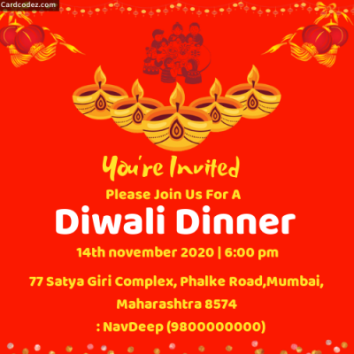 Diwali Dinner Party Invitation Card Maker Online