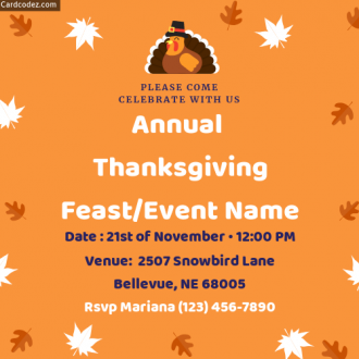 Generate online Annual Thanksgiving Feast invitation