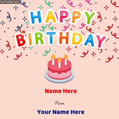 Write Name on Happy Birthday Photo