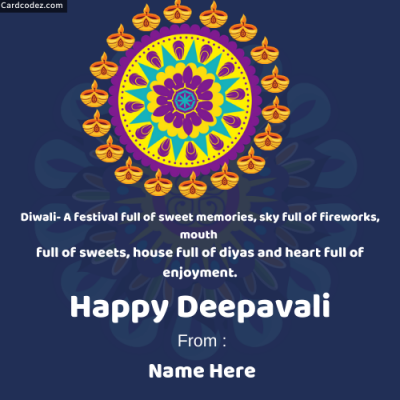 Write Name on Happy Deepavali Rangoli Photo Wish Card