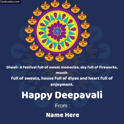 Write Name on Happy Deepavali Rangoli Photo Wish Card