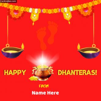 Write Name on Happy Dhanteras Image