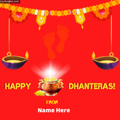 Write Name on Happy Dhanteras Image