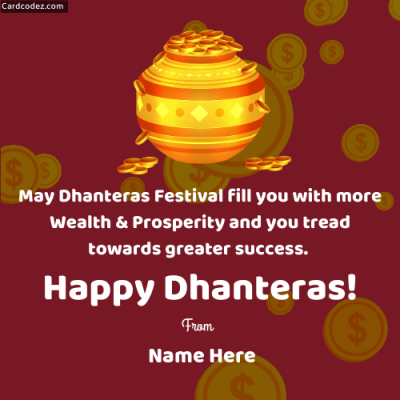 Write Name on Happy Dhanteras Photo Wishes whatsapp status dp image