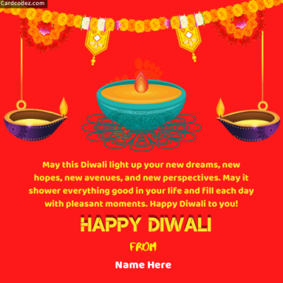 Write Name on Happy Diwali Greeting Card Photo