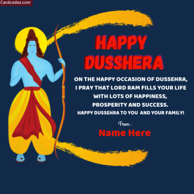 Write Name on Happy Dussehra English Greeting Card