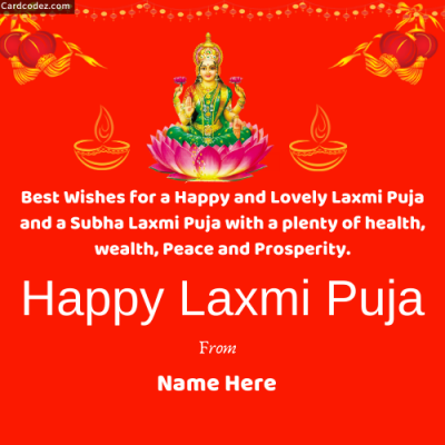 Write Name on Happy Laxmi Puja Wishes Photo Status