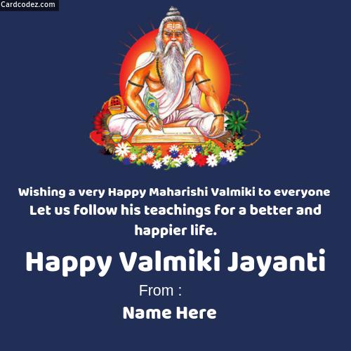 Write Name on Happy Valmiki Jayanti Photo Status - Card ...