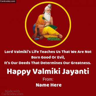 Your Name on Happy Valmiki Jayanti Photo with wishes