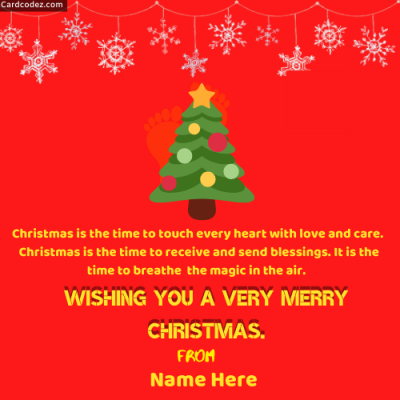 Write Name on Wishing you a very Merry Christmas Tree Greeting Card Photo