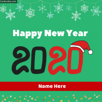 Write Name On Happy New Year 2020 Photo Card