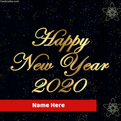 Write Name on Happy New Year 2020 Card Photo