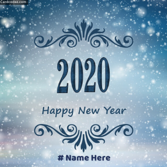Write Name on Happy New Year Snow Card Whatsapp DP Photo