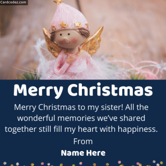 Write Name on Merry Christmas Sister Greeting Card