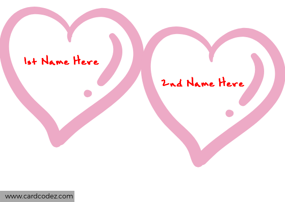Free tool to make your love card with your and your lover name in pink hearts