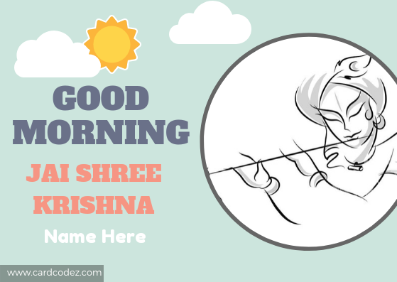 Good Morning Jai Shree (Shri) Krishna greeting card with name