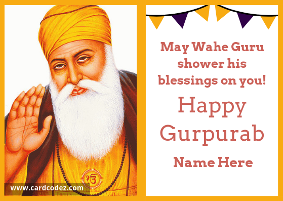 Write name on Happy Gurpurab Greeting Card whatsapp facebook cover card