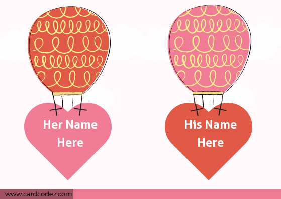 Write name on hot air balloon hold hearts