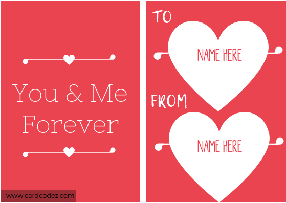 Write name on you and me forever hearts love card
