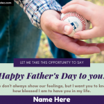 Write Name On Happy Father's Day Greeting Card - Wishing Card With Name