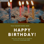 Write His/Her name on Birthday Greeting Card With From Your Name