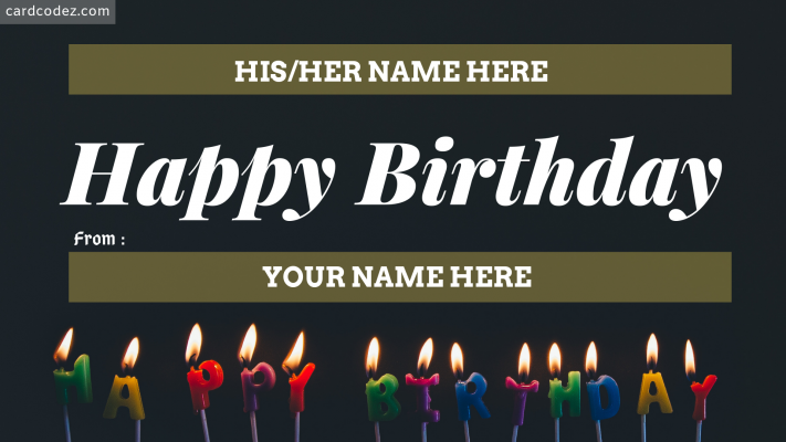 Write Name on Happy Birthday Greeting Card With Your Name