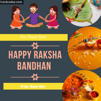 Write Your and Brother/Sister Name on Happy Raksha Bandhan Greeting Card