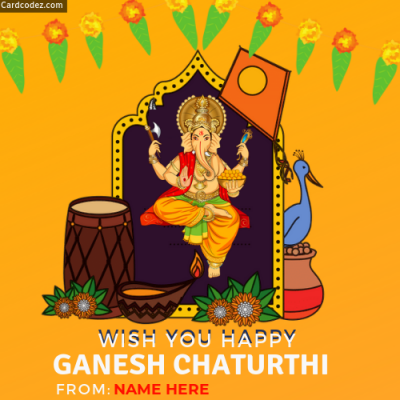 Wish you Happy Ganesh Chaturthi Greeting Card With Name whatsapp photo your my name on image