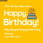 Write Name on Birthday Cake Photo Greeting Card
