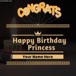 Write Name on Happy Birthday Princess Greeting Card