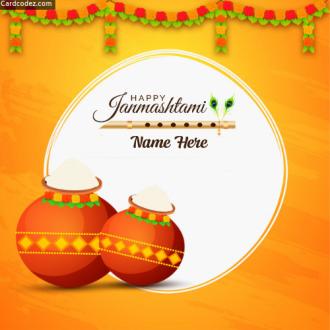 Write Name on Happy Janmashtami dahi handi greeting card