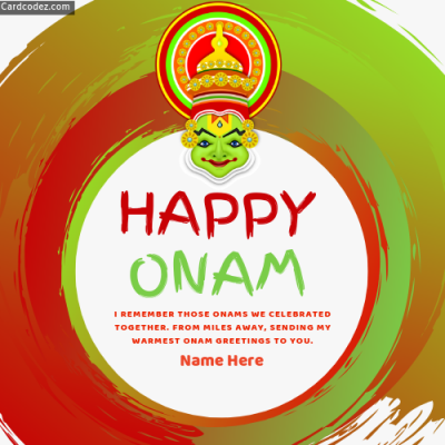 Write Name on Happy Onam Greeting Card for Friends