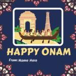 Write Name on Happy Onam Photo Card