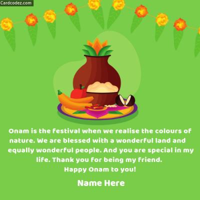 Write Name on Happy Onam to you Photo Card
