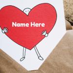 Write lover name on heart love letter Photo card