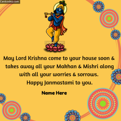 Write name on Happy Krishna Janmashtami English Greeting Card