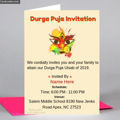 Durga Puja Invitation Card Maker For Whatsapp