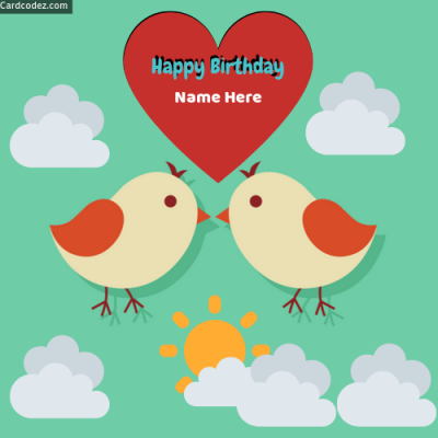 Write Name on Happy Birthday Birds Heart Photo