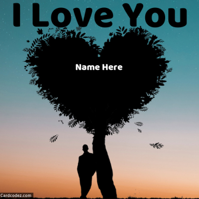 Write Name on I Love You Tree in Heart Shape Dark Evening