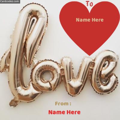 Write Name on Love Balloon Photo Card
