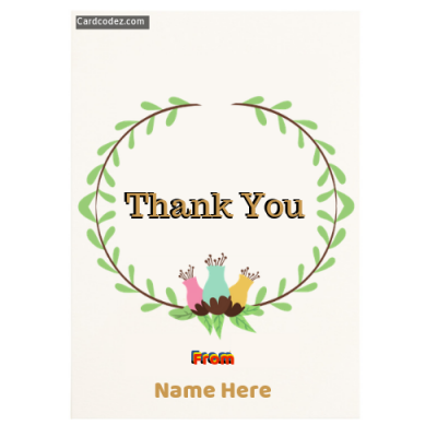 Write Name on Thank You Greeting Card Pic