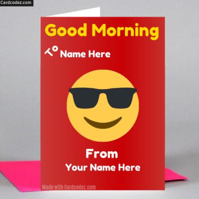 Write name on good morning sun smile greeting card