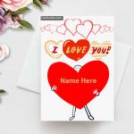 Write name on i love you greeting photo