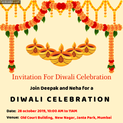 Make Invitation For Diwali Celebration With Name Invitation Card For whatsapp Maker