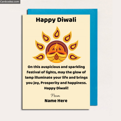 Write Name Happy Diwali Greeting Card Photo Wish