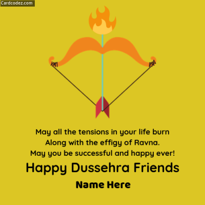 Write Name on Happy Dussehra Friends Status Photo