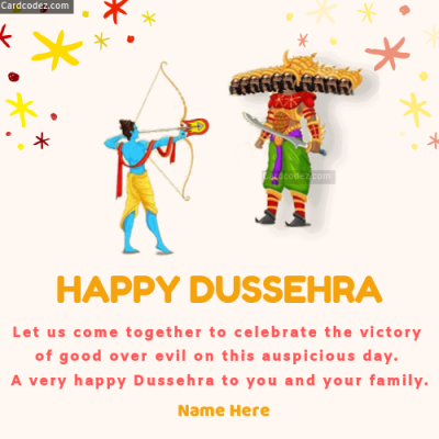 Write Name on Happy Dussehra Wishes Photo Card