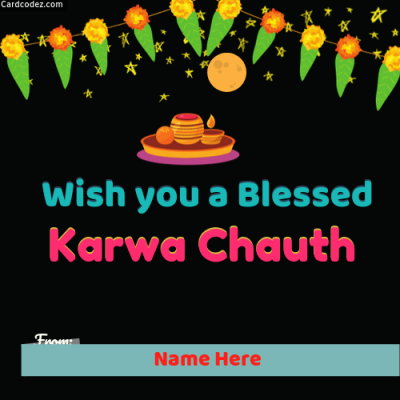 Write Name on Wish Happy Karva Chauth to Couple Photo